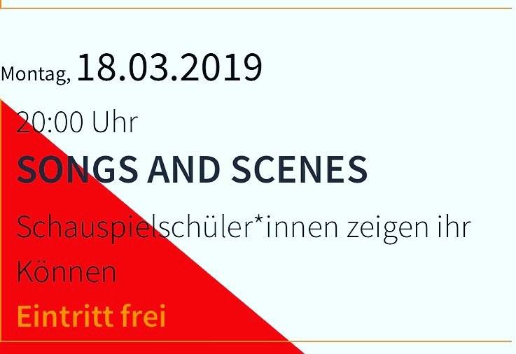 """""""Songs and Scenes"""" am 18.3.2019 im Theater der Keller"""
